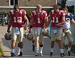 Quarterbacks Andrew Hendrix (12), Gunner Kiel (1) and Tommy Rees (11)