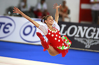 September 23, 2007; Patras, Greece;   Evgenia Kanaeva of Russia split leaps during gala exhibition at 2007 World Championships Patras.   Evgenia helped Russia win the team gold earlier at Patras. Photo by Tom Theobald.