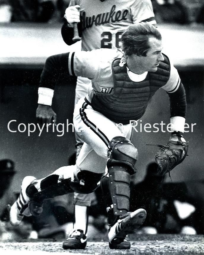 Oakland Athletics catcher Mike Heath 1984 (<br />photo/Ron Riesterer/Photoshelter)