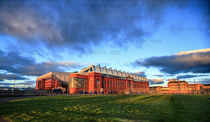 Ibrox Stadium touched by the last rays of the setting sun a few hours after the game had ended