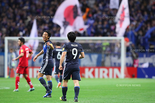 Shinji Okazaki (JPN), <br /> MARCH 24, 2016 - Football / Soccer : <br /> FIFA World Cup Russia 2018 Asian Qualifier Second Round Group E match between<br /> Japan 5-0 Afghanistan <br /> at Saitama Stadium 2002 in Saitama, Japan.<br /> (Photo by Yohei Osada/AFLO SPORT)
