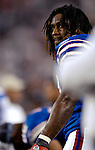 8 October 2007: Buffalo Bills running back Marshawn Lynch looks up from the bench prior to a game against the Dallas Cowboys at Ralph Wilson Stadium in Buffalo, New York. The Cowboys defeated the Bills 25-24 for their fifth consecutive win of the season...Mandatory Photo Credit: Ed Wolfstein Photo