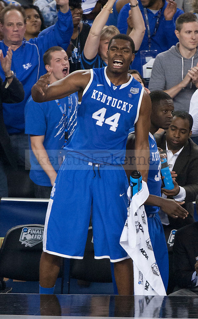 Kentucky Wildcats center Dakari Johnson (44) cheers on the Wildcats during the NCAA Final Four vs. Wisconsin at the AT&T in Arlington, Tx., on Saturday, April 5, 2014. Photo by Eleanor Hasken | Staff