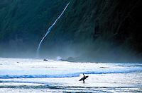 Surfer on the beach at Waipio with stunning waterfall on the lush coastline of the Big Island of Hawaii.