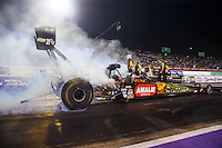 Apr 29, 2016; Baytown, TX, USA; NHRA top fuel driver Terry McMillen during qualifying for the Spring Nationals at Royal Purple Raceway. Mandatory Credit: Mark J. Rebilas-USA TODAY Sports
