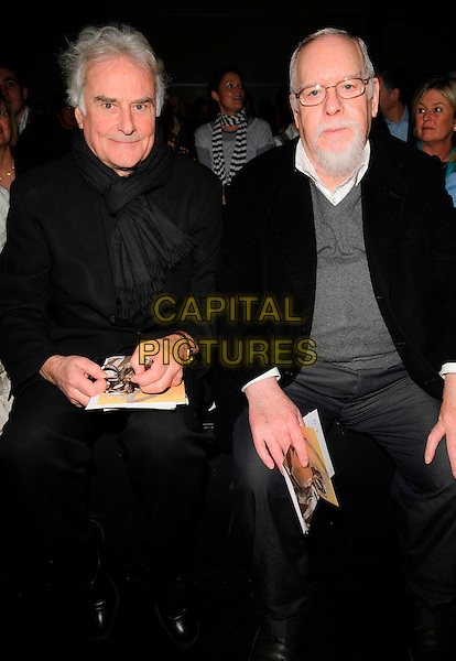 SIR RICHARD EYRE & SIR PETER BLAKE.At the Betty Jackson Catwalk Show during London Fashion Week, BFC Tent, Natural HIstory Museum, London,.England, 12th February 2008..half length sitting watching audience .CAP/CAN.?Can Nguyen/Capital Pictures