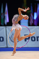 Evgeniya Kanaeva of Russia performs with hoop at 2009 World Cup at Portimao, Portugal on April 19, 2009.  (Photo by Tom Theobald).