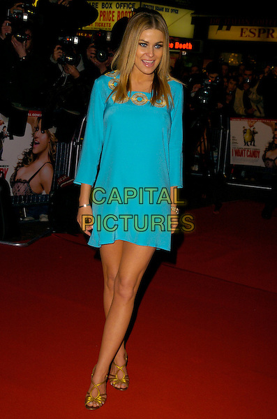 "CARMEN ELECTRA.At the UK Premiere of ""I Want Candy"", .Vue Cinema West End, Leicester Square, .London, England, March 20th 2007..full length turquoise dress gold shoes .CAP/CAN.©Can Nguyen/Capital Pictures"
