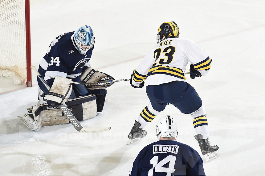 Michigan beats Penn State, 7-1, Friday night, March 11, 2016, at UM's Yost Ice Arena.
