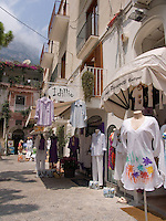Clothes, Street Shop, Positano at Amalfi Coast, Campania, Italy, Europe,World Heritage Site