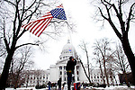 A protestor outside the State Capitol on February 23, 2011 in Madison, Wisconsin.