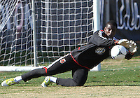 WASHINGTON, DC - NOVEMBER 14, 2012: Bill Hamid (28) of DC United during a practice session before the second leg of the Eastern Conference Championship at DC United practice field, in Washington, DC on November 14.