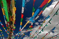 Tibetan Buddhist Prayer Flags at Lake Namtso, Tibet