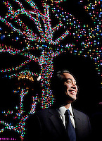 San Antonio mayor Julian Castro smiles as Holiday lights illuminate the world famous River Walk, Thursday, Nov. 17, 2011, in downtown San Antonio. The 1.8 million LED lights use half the electricity as the 122,000  incandescent lights utilized in previous years, making one of the nation's top holiday cities an eco-friendly destination. (Darren Abate/VisitSanAntonio.com)