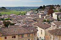 Rooftops viewed from L'Eglise Monolith in traditional town of St Emilion, Bordeaux, France