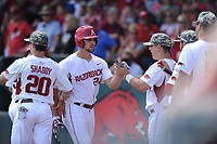 NWA Democrat-Gazette/ANDY SHUPE<br />Arkansas first baseman Chad Spanberger (24) is congratulated by catcher Alex Gosser against Georgia Saturday, April 15, 2017, after hitting a three-run home run during the second inning at Baum Stadium in Fayetteville. Visit nwadg.com/photos to see more photographs from the game.