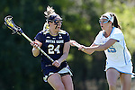 03 April 2016: Notre Dame's Casey Pearsall (24) and North Carolina's Charlotte Sofield (15). The University of North Carolina Tar Heels hosted the University of Notre Dame Fighting Irish in a 2016 NCAA Division I Women's Lacrosse match. Maryland won the game 14-8.