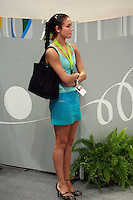 September 23, 2007; Patras, Greece;   Lyasan Utyasheva of Russia watches gala exhibitions at 2007 World Championships Patras. Lyasan was a highly rated Russian senior individual rhythmic gymnast working at Patras as a commentator for a Russian tv network. Photo by Tom Theobald. ..Photo note: Lyasan was standing near me and couldn't resist to take the photo:)