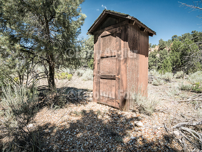 Brown wooden outhouse, Cherry Creek Guard Station, Grant Range, Nev.