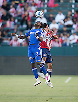 KC Wizard midfielder Kei Kamara goes up high for a ball during the second half of the game between Chivas USA and the Kansas City Wizards at the Home Depot Center in Carson, CA, on September 19, 2010. Final score Chivas USA 0, Kansas City Wizards 2.
