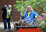 Janet Townsend (right) and Michele Justice help with landscaping at the Fourth Avenue United Methodist Church in Louisville, Kentucky, on April 24, 2014, the Ubuntu day of service before the United Methodist Women Assembly in Louisville, Kentucky. The church carries out a variety of ministries in the community, including providing food to homeless and underemployed people.