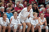 STANFORD, CA-JANUARY 18, 2012 - Sarah Boothe rallies her teammates in the second half against the visiting Washington State Cougars. The Cardinal defeated WSU 75-41.