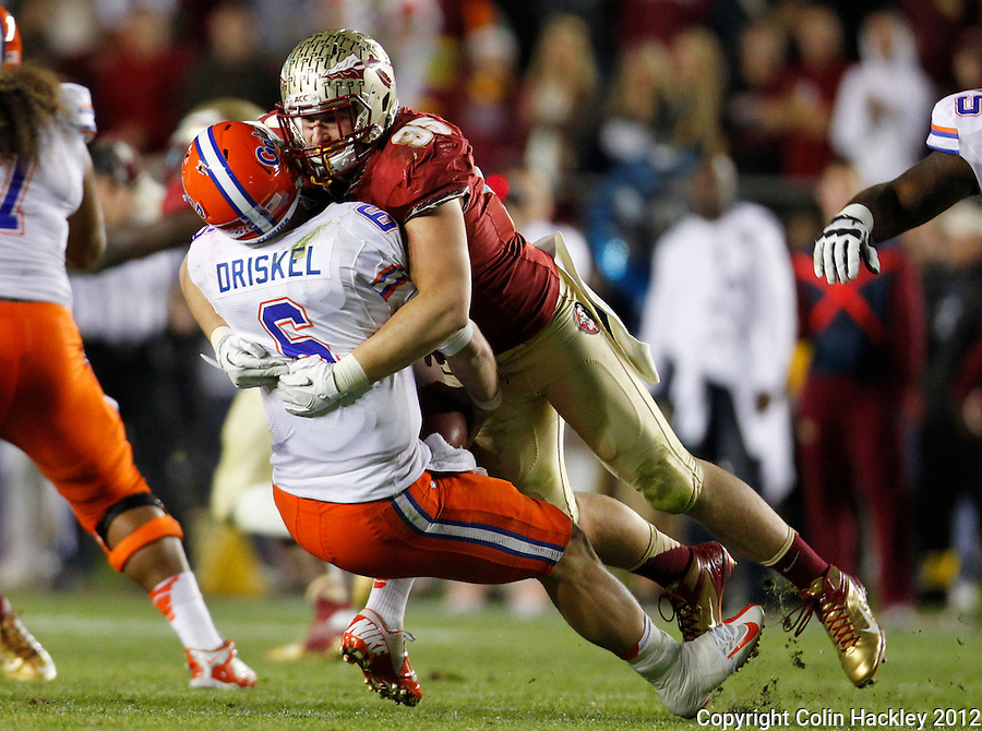 TALLAHASSEE, FL 11/24/12-FSU-UF112412 CH-Florida State's Bjoern Werner sacks Florida's Jeff Driskel during second half action Saturday at Doak Campbell Stadium in Tallahassee. The Gators beat the Seminoles 37-26..COLIN HACKLEY PHOTO