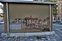 Roma 7 Ottobre 2014<br /> A Roma, al quartiere Centocelle , sono comparse scritte pro-Isis. <br /> Su un muro &egrave; scritto in arabo: Lo stato islamico dell'iraq e Levante.<br /> Isis esiste ancora.<br /> Rome October 7, 2014 <br /> In Rome, the neighborhood  Centocelle, appeared written pro-Isis. <br /> On a wall is written in Arabic: Islamic State of Iraq and the Levant <br /> Isis still exists.