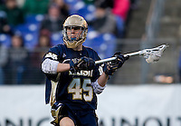 Max Pfeifer (45) of Notre Dame looks for a pass during the Face-Off Classic in at M&T Stadium in Baltimore, MD