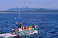 Tourists heading out on a Whale Watching Trip from Tofino,  Vancouver Island, British Columbia, Canada