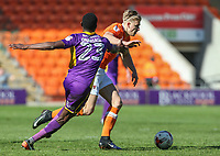Blackpool's Brad Potts gets past Cheltenham Town's Many Onariase<br /> <br /> Photographer Alex Dodd/CameraSport<br /> <br /> The EFL Sky Bet League Two - Blackpool v Cheltenham Town - Saturday 22nd April 2017 - Bloomfield Road - Blackpool<br /> <br /> World Copyright &copy; 2017 CameraSport. All rights reserved. 43 Linden Ave. Countesthorpe. Leicester. England. LE8 5PG - Tel: +44 (0) 116 277 4147 - admin@camerasport.com - www.camerasport.com