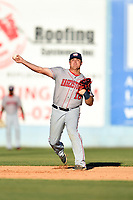 Hagerstown Suns shortstop Sheldon Neuse (16) throws to first base during a game against the  Asheville Tourists at McCormick Field on May 13, 2017 in Asheville, North Carolina. The Suns defeated the Tourists 9-5. (Tony Farlow/Four Seam Images)