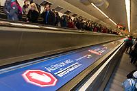 UNGARN, 04.2017, Budapest - II. Bezirk. &quot;Lasst uns Bruessel stoppen!&quot; Kampagne der Fidesz-Regierung gegen teils erfundene Massnahmen der EU. Es wird zu einer weiteren Propaganda-Volksbefragung &quot;Nationale Konsultation&quot; gerufen. &ndash;Die gesamte U-Bahn ist vollplakatiert. | &quot;Let's stop Brussels!&quot; Fidesz government campaign against the EU, based on alternative facts. They call for yet  another propaganda-referendum named &quot;national consultation&quot;. &ndash;Whole metro lines covered with ads.<br /> &copy; Martin Fejer/EST&amp;OST