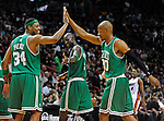 Boston Celtics teammates Paul Pierce Kevin Garnett, and Ray Allen celebrate during a playoff game against the Miami Heat in Miami on Sunday, April 25, 2010. saved in Monday