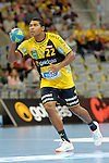 GER - Mannheim, Germany, September 23: During the DKB Handball Bundesliga match between Rhein-Neckar Loewen (yellow) and TVB 1898 Stuttgart (white) on September 23, 2015 at SAP Arena in Mannheim, Germany. Final score 31-20 (19-8) .  Mads Mensah Larsen #22 of Rhein-Neckar Loewen<br /> <br /> Foto &copy; PIX-Sportfotos *** Foto ist honorarpflichtig! *** Auf Anfrage in hoeherer Qualitaet/Aufloesung. Belegexemplar erbeten. Veroeffentlichung ausschliesslich fuer journalistisch-publizistische Zwecke. For editorial use only.