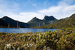 View across Dove Lake to Cradle Mountain.  Cradle Mountain-Lake St Clair National Park, Tasmania, AUSTRALIA