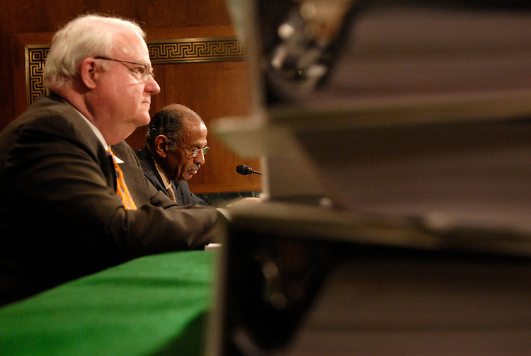 """Rep. James Sensenbrenner Jr., R-Wi., and Rep. John Conyers, Jr., D-Mi., testify at a Senate Judiciary Committee committee hearing on """"Renewing the Temporary Provisions of the Voting Rights Act: An Introduction to the Evidence.""""."""