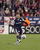 New England Revolution defender Ryan Cochrane (45) passes the ball. In a Major League Soccer (MLS) match, Real Salt Lake defeated the New England Revolution, 2-0, at Gillette Stadium on April 9, 2011.