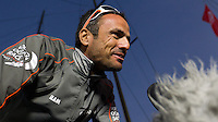 UAE. 4th January 2012. Volvo Ocean Race, Leg 2, arrival into Abu Dhabi. Arrivals ceremony. Franck Cammas skipper Groupama Sailing Team.