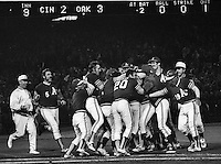 72SERIES_GAME4A'sWIIN, Oakland A's celebrate with winning game 4 of the 72 World Series against the Cincininati Reds.(photo by Ron Riesterer)