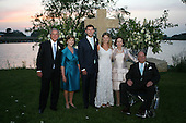United States President George W. Bush and first lady Laura Bush and John and Margaret Hager pose with the newly married couple, Jenna and Henry Hager, in front of the altar on Prairie Chapel Ranch near Crawford, Texas.  From left to right: President Bush, first lady Laura Bush, Henry Hager, Jenna Bush Hager, Margaret Chase Hager, and John H. Hager..Mandatory Credit: Shealah Craighead / White House via CNP.