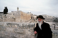 Jerusalem, Israel, November, 1980. Jew Orthodox in front of the