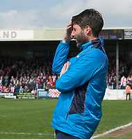 Lincoln City manager Danny Cowley counts down to the final whistle<br /> <br /> Photographer Andrew Vaughan/CameraSport<br /> <br /> Vanarama National League - Lincoln City v Macclesfield Town - Saturday 22nd April 2017 - Sincil Bank - Lincoln<br /> <br /> World Copyright &copy; 2017 CameraSport. All rights reserved. 43 Linden Ave. Countesthorpe. Leicester. England. LE8 5PG - Tel: +44 (0) 116 277 4147 - admin@camerasport.com - www.camerasport.com