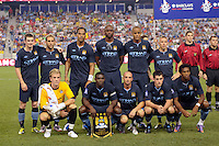 Manchester City F. C. starting eleven. Sporting Clube de Portugal defeated Manchester City F. C. 2-0 during a Barclays New York Challenge match at Red Bull Arena in Harrison, NJ, on July 23, 2010.