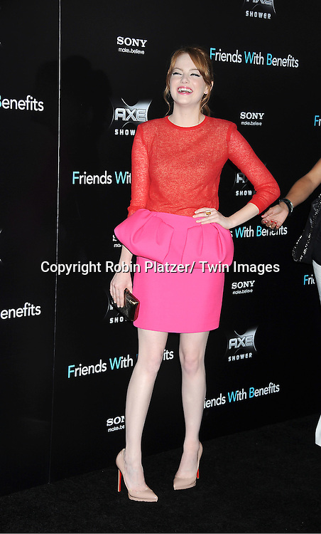 """Emma Stone attending the New York Premiere of """"Freinds With Benefits"""" on July 18, 2011 at The Ziegfeld Theatre in New York City. The movie stars Justin Timberlake, Mila Kunis, Emma Stone, Patricia Clarkson, Jenna Elfman and Bryan Greenberg."""