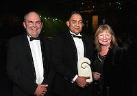 MP Steven Joyce, supreme award winner Mark Muru and Dominion Post editor Bernadette Courtney. Wellington Gold Awards at TSB Bank Arena, Wellington, New Zealand on Thursday, 9 July 2015. Photo: Dave Lintott / lintottphoto.co.nz