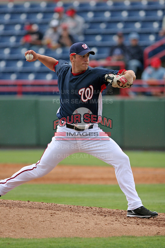 Washington Nationals Shawn Hill during a Grapefruit League Spring Training game at Spacecoast Stadium on March 19, 2007 in Melbourne, Florida.  (Mike Janes/Four Seam Images)