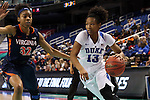03 March 2016: Duke's Crystal Primm (13) and Virginia's Mone Jones (32). The Duke University Blue Devils played the University of Virginia Cavaliers at the Greensboro Coliseum in Greensboro, North Carolina in the Atlantic Coast Conference Women's Basketball tournament and a 2015-16 NCAA Division I Women's Basketball game. Duke won the game 57-53.