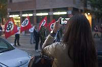 Ragazza fotografa il Corteo dei movimenti della destra radicale in piazza Susa per ricordare Sergio Ramelli, Enrico Pedenovi e Carlo Borsani, on April 29, 2014. Photo: Adamo Di Loreto/BuenaVista*photo