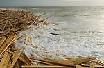 WORTHING BEACH CARGO OF TIMBER  WASHES UP ENGLAND